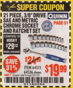 "Harbor Freight Coupon QUINN 21 PIECE, 3/8"" DRIVE SAE AND METRIC HIGH VISIBILITY SOCKET SET Lot No. 64515/64536 Expired: 3/31/19 - $19.99"