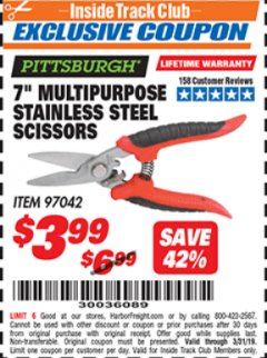"Harbor Freight ITC Coupon 7"" MULTIPURPOSE STAINLESS STEEL SCISSORS Lot No. 97042 Expired: 3/31/19 - $3.99"