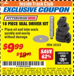 Harbor Freight ITC Coupon 18 PIECE SEAL DRIVER KIT Lot No. 35555 Valid Thru: 3/31/19 - $9.99