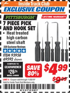 Harbor Freight ITC Coupon 7 PIECE PICK AND HOOK SET Lot No. 69592/93958 Expired: 11/30/19 - $0
