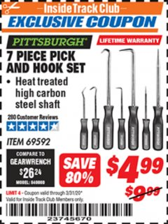 Harbor Freight ITC Coupon 7 PIECE PICK AND HOOK SET Lot No. 69592/93958 Expired: 3/31/20 - $4.99