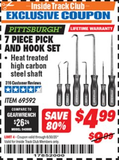 Harbor Freight ITC Coupon 7 PIECE PICK AND HOOK SET Lot No. 69592/93958 Valid Thru: 6/30/20 - $4.99