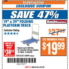 "Harbor Freight ITC Coupon 19"" x 29"" FOLDING PLATFORM TRUCK Lot No. 62211/68895 Expired: 6/5/18 - $19.99"