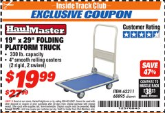 "Harbor Freight ITC Coupon 19"" x 29"" FOLDING PLATFORM TRUCK Lot No. 62211/68895 Expired: 7/31/18 - $19.99"