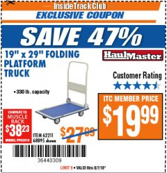 "Harbor Freight ITC Coupon 19"" x 29"" FOLDING PLATFORM TRUCK Lot No. 62211/68895 Expired: 8/7/18 - $19.99"