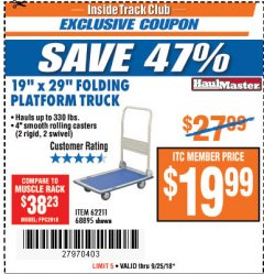 "Harbor Freight ITC Coupon 19"" x 29"" FOLDING PLATFORM TRUCK Lot No. 62211/68895 Expired: 9/25/18 - $19.99"