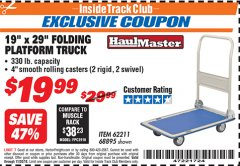 "Harbor Freight ITC Coupon 19"" x 29"" FOLDING PLATFORM TRUCK Lot No. 62211/68895 Expired: 11/30/18 - $19.99"
