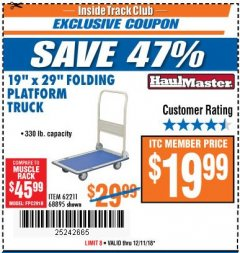 "Harbor Freight ITC Coupon 19"" x 29"" FOLDING PLATFORM TRUCK Lot No. 62211/68895 Expired: 12/11/18 - $19.99"