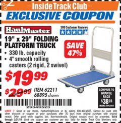 "Harbor Freight ITC Coupon 19"" x 29"" FOLDING PLATFORM TRUCK Lot No. 62211/68895 Expired: 3/31/19 - $19.99"