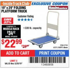 "Harbor Freight ITC Coupon 19"" x 29"" FOLDING PLATFORM TRUCK Lot No. 62211/68895 Expired: 5/28/19 - $22.99"