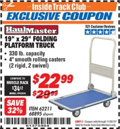 "Harbor Freight ITC Coupon 19"" x 29"" FOLDING PLATFORM TRUCK Lot No. 62211/68895 Expired: 11/30/19 - $22.99"