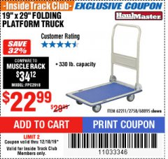 "Harbor Freight ITC Coupon 19"" x 29"" FOLDING PLATFORM TRUCK Lot No. 62211/68895 Expired: 12/18/19 - $22.99"