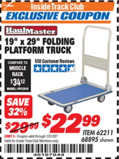 "Harbor Freight ITC Coupon 19"" x 29"" FOLDING PLATFORM TRUCK Lot No. 62211/68895 Valid: 12/31/19 - 1/31/20 - $22.99"