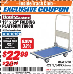 "Harbor Freight ITC Coupon 19"" x 29"" FOLDING PLATFORM TRUCK Lot No. 62211/68895 Expired: 3/31/20 - $22.99"