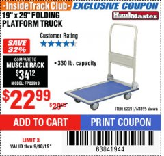"Harbor Freight ITC Coupon 19"" x 29"" FOLDING PLATFORM TRUCK Lot No. 62211/68895 Expired: 9/10/19 - $22.99"