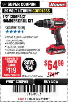 "Harbor Freight Coupon 1/2"" COMPACT HAMMER DRILL KIT Lot No. 64756/63527 Expired: 2/10/19 - $64.99"