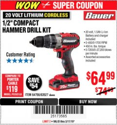 "Harbor Freight Coupon 1/2"" COMPACT HAMMER DRILL KIT Lot No. 64756/63527 Expired: 3/17/19 - $64.99"