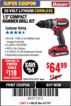 "Harbor Freight Coupon 1/2"" COMPACT HAMMER DRILL KIT Lot No. 64756/63527 Expired: 4/1/19 - $64.99"