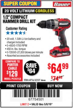 "Harbor Freight Coupon 1/2"" COMPACT HAMMER DRILL KIT Lot No. 64756/63527 Expired: 5/6/19 - $64.99"
