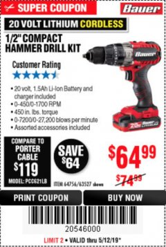 "Harbor Freight Coupon 1/2"" COMPACT HAMMER DRILL KIT Lot No. 64756/63527 Expired: 5/12/19 - $64.99"