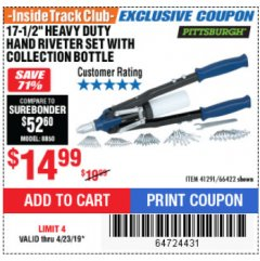 "Harbor Freight ITC Coupon 17-1/2"" HEAVY DUTY HAND RIVETER SET Lot No. 66422 Expired: 4/23/19 - $14.99"