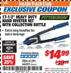 "Harbor Freight ITC Coupon 17-1/2"" HEAVY DUTY HAND RIVETER SET Lot No. 66422 Expired: 1/31/20 - $14.99"