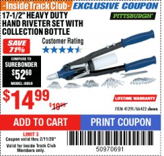 "Harbor Freight ITC Coupon 17-1/2"" HEAVY DUTY HAND RIVETER SET Lot No. 66422 Expired: 2/11/20 - $14.99"