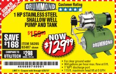 Harbor Freight Coupon 1 HP STAINLESS STEEL SHALLOW WELL PUMP AND TANK Lot No. 56395/63407 Valid Thru: 4/20/19 - $129.99