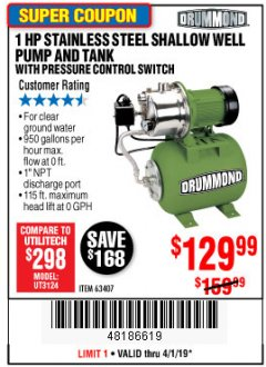 Harbor Freight Coupon 1 HP STAINLESS STEEL SHALLOW WELL PUMP AND TANK Lot No. 56395/63407 Valid Thru: 4/1/19 - $129.99