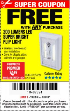Harbor Freight FREE Coupon 200 LUMENS LED SUPER BRIGHT FLIP LIGHT Lot No. 64189/64723/63922 Expired: 7/14/19 - FWP