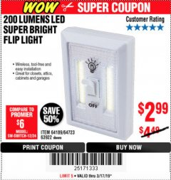 Harbor Freight Coupon 200 LUMENS LED SUPER BRIGHT FLIP LIGHT Lot No. 64189/64723/63922 Expired: 3/17/19 - $2.99