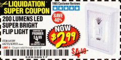 Harbor Freight Coupon 200 LUMENS LED SUPER BRIGHT FLIP LIGHT Lot No. 64189/64723/63922 Expired: 5/31/19 - $2.99
