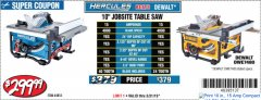 "Harbor Freight Coupon HERCULES 10"" 15 AMP JOBSITE TABLE SAW Lot No. 64855 Expired: 3/31/19 - $299.99"