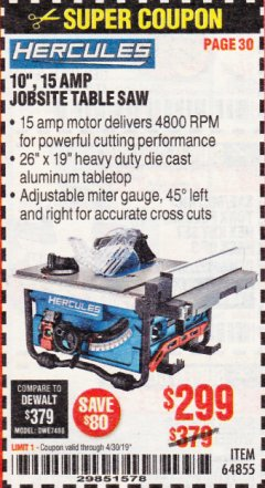 "Harbor Freight Coupon HERCULES 10"" 15 AMP JOBSITE TABLE SAW Lot No. 64855 Expired: 4/30/19 - $299"