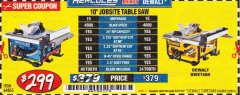 "Harbor Freight Coupon HERCULES 10"" 15 AMP JOBSITE TABLE SAW Lot No. 64855 Expired: 5/31/19 - $299.99"