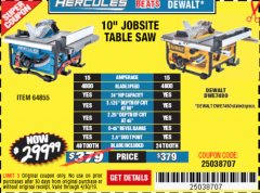 "Harbor Freight Coupon HERCULES 10"" 15 AMP JOBSITE TABLE SAW Lot No. 64855 Expired: 4/30/19 - $299.99"