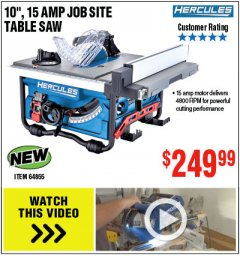 "Harbor Freight Coupon HERCULES 10"" 15 AMP JOBSITE TABLE SAW Lot No. 64855 Expired: 4/22/19 - $249.99"