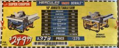 "Harbor Freight Coupon HERCULES 10"" 15 AMP JOBSITE TABLE SAW Lot No. 64855 Expired: 6/30/19 - $249.99"