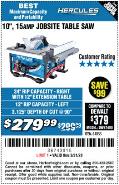 "Harbor Freight Coupon HERCULES 10"" 15 AMP JOBSITE TABLE SAW Lot No. 64855 Valid Thru: 3/31/20 - $279.99"