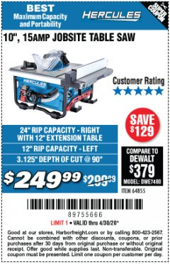 "Harbor Freight Coupon HERCULES 10"" 15 AMP JOBSITE TABLE SAW Lot No. 64855 Valid Thru: 4/30/20 - $249.99"