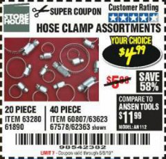 Harbor Freight Coupon HOSE CLAMP ASSORTMENTS Lot No. 63280/61890/61209/62363/60807/63623/67578 Expired: 6/15/19 - $4.99