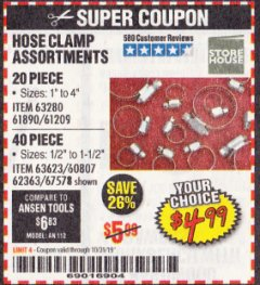 Harbor Freight Coupon HOSE CLAMP ASSORTMENTS Lot No. 63280/61890/61209/62363/60807/63623/67578 Expired: 10/31/19 - $4.99