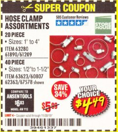 Harbor Freight Coupon HOSE CLAMP ASSORTMENTS Lot No. 63280/61890/61209/62363/60807/63623/67578 Expired: 11/30/19 - $4.49