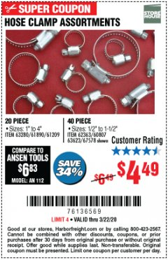 Harbor Freight Coupon HOSE CLAMP ASSORTMENTS Lot No. 63280/61890/61209/62363/60807/63623/67578 Expired: 3/22/20 - $4.49