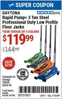 Harbor Freight Coupon DAYTONA RAPID PUMP 3 TON STEEL LOW PROFILE FLOOR JACKS Lot No. 64360/64883/64240/64784/56261/64780 Expired: 7/15/20 - $119.99