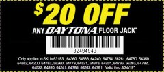 Harbor Freight Coupon DAYTONA RAPID PUMP 3 TON STEEL LOW PROFILE FLOOR JACKS Lot No. 64360/64883/64240/64784/56261/64780 Expired: 3/24/19 - $109.99