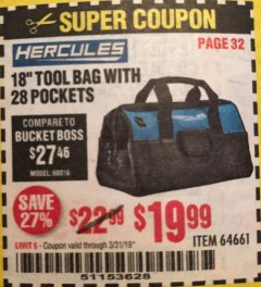 "Harbor Freight Coupon HERCULES 18"" TOOL BAG WITH 28 POCKETS Lot No. 64661 Expired: 3/31/19 - $19.99"