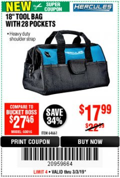 "Harbor Freight Coupon HERCULES 18"" TOOL BAG WITH 28 POCKETS Lot No. 64661 Expired: 3/3/19 - $17.99"