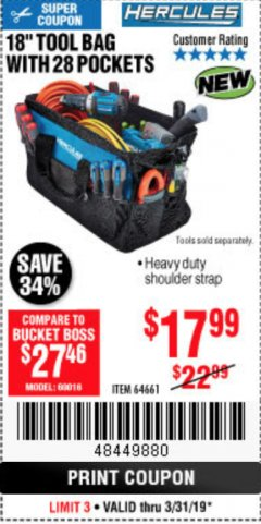 "Harbor Freight Coupon HERCULES 18"" TOOL BAG WITH 28 POCKETS Lot No. 64661 Expired: 3/31/19 - $17.99"