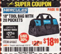 "Harbor Freight Coupon HERCULES 18"" TOOL BAG WITH 28 POCKETS Lot No. 64661 Expired: 4/30/19 - $18.99"